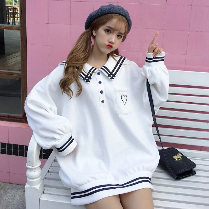 Sweet Sweatshirt Women Autumn Love Embroidery Long Sleeve Sailor Collar Loose Pullover 2019 New Cute Stuff Casual Hooded Female
