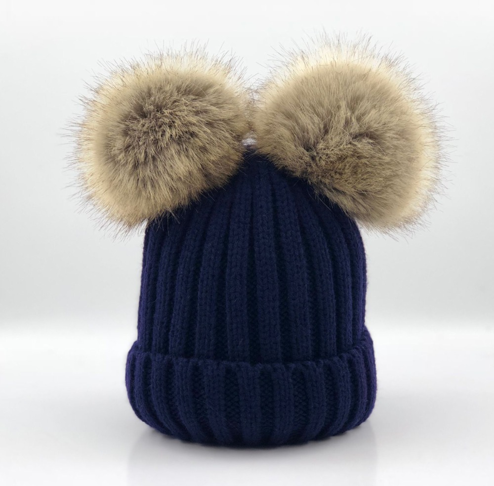 Baby Girls Boys Winter Warm Gorros Para Bebe big size 15cm faux Fur Pompom Ball Kids women Knitted   Beanies   Hat