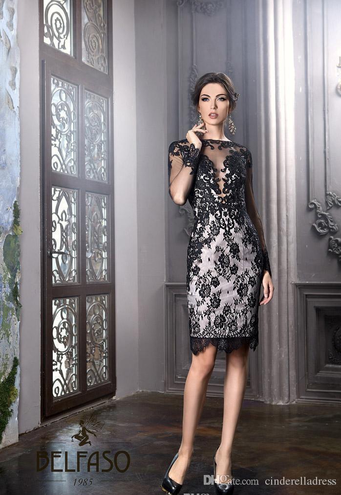 Vestido novia appliques 2018 nouveau sexy petite gaine noire longueur du genou élégant Plus à manches longues dentelle mère de la mariée robes