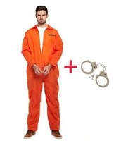 FREE SHIPPING 2015 Newest Mens Costume Prisoner Orange Fancy Dress Party Cosplay Costume