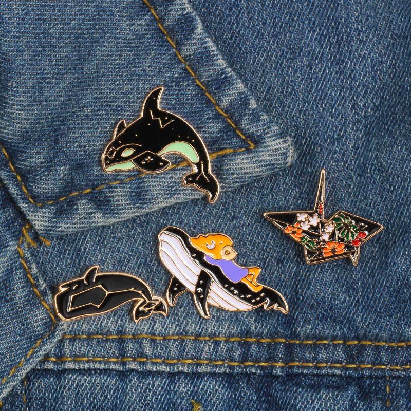 את ים בעלי החיים דולפין סיכת אוריגמי אמייל פין תג מזל דגים ג 'ינס ג' ינס כפתור חמוד תכשיטי דש סיכות מתנה עבור ילדי נשים