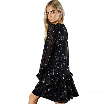 HDY Haoduoyi Space Star Moon V-Neck Print Dress Black Long butterfly Sleeve Party Dresses  Loose  vestidos Spring Summer New