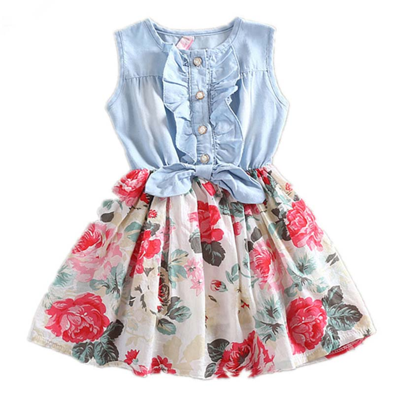 Hot Sales New Summer Dress Girls Dresses Baby Sleeveless Denim Flowers Vestidos Kids Party Princess Bow Girl Dress Free Shipping hot sale floral dresses summer baby rose flower pattern dress kids children party dresses girls vestidos 2016 new princess girls