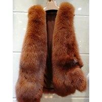 Women Winter Real Fox Fur Vest Coat 2018 New Fashion Whole Genuine Leather Fur Coat Top Quality Thick Fox Fur gilet 65CM