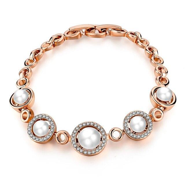 Женские браслеты toucheart золотистые с искусственным жемчугом