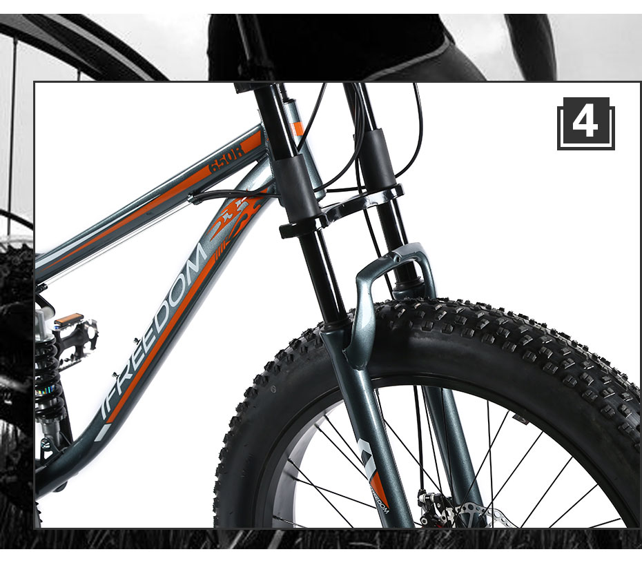 HTB1lH2NXoLrK1Rjy1zbq6AenFXa5 Love Freedom High Quality Bicycle 21/24 Speed Mountain Bike 26 Inch 4.0 Fat Tire Snow Bike Double disc Shock Absorbing Bicycle