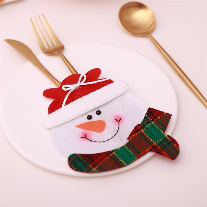 Шляпа Санты, олень, Рождество, Год, карманная вилка, нож, столовые приборы, держатель, сумка для дома, вечерние украшения стола, ужина, столовые приборы 62253 - Цвет: P