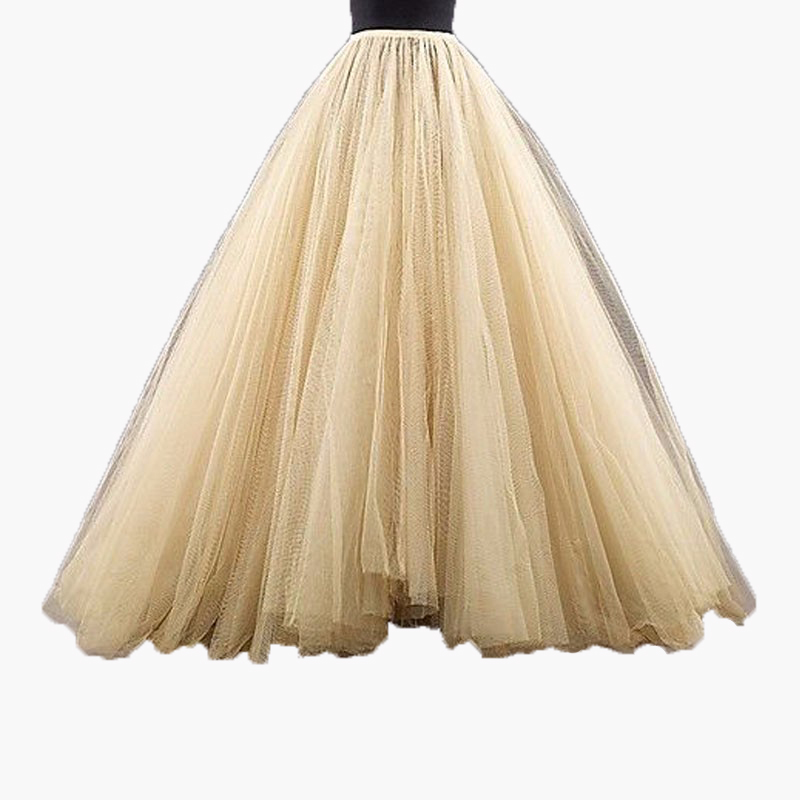 2016 Puffy Long Tulle Skirts Custom Made Champagne Floor Length Tutu Skirts Formal Party Fashion Adults Skirts 100% Real Image