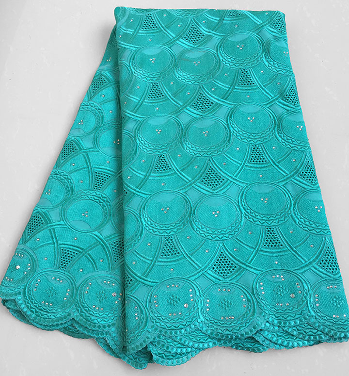 plain aqua Real Swiss lace Very soft cotton lace African lace fabric top quality 5 yards/PC 7150
