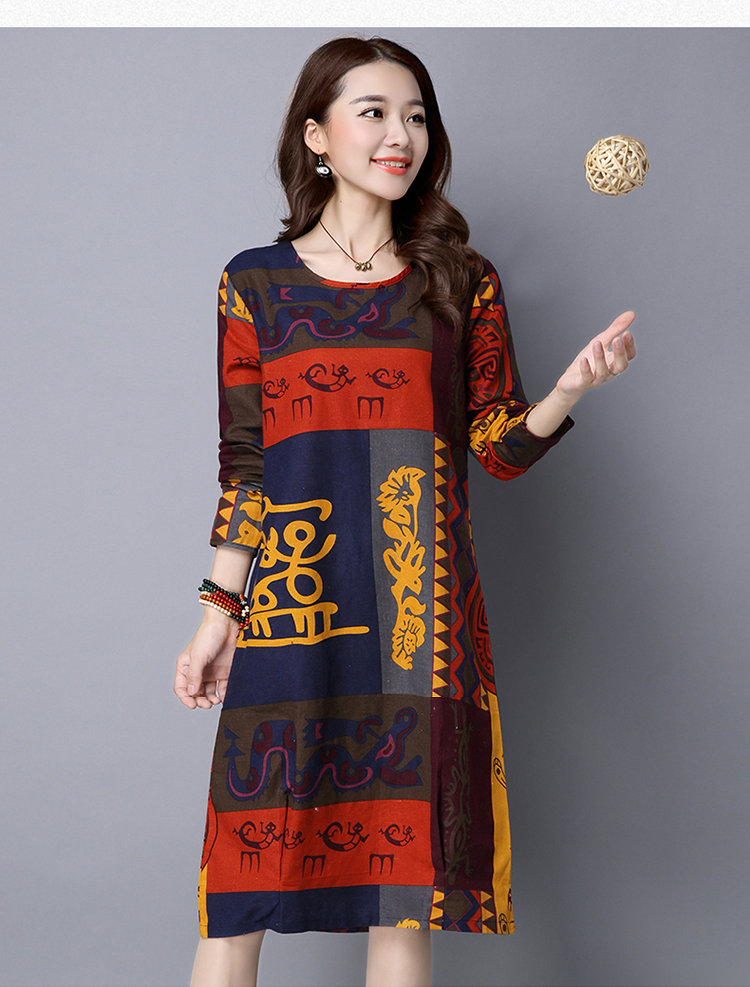 Casual Vintage Print Dress Women 2019 New Arrival Women Dresses Fall