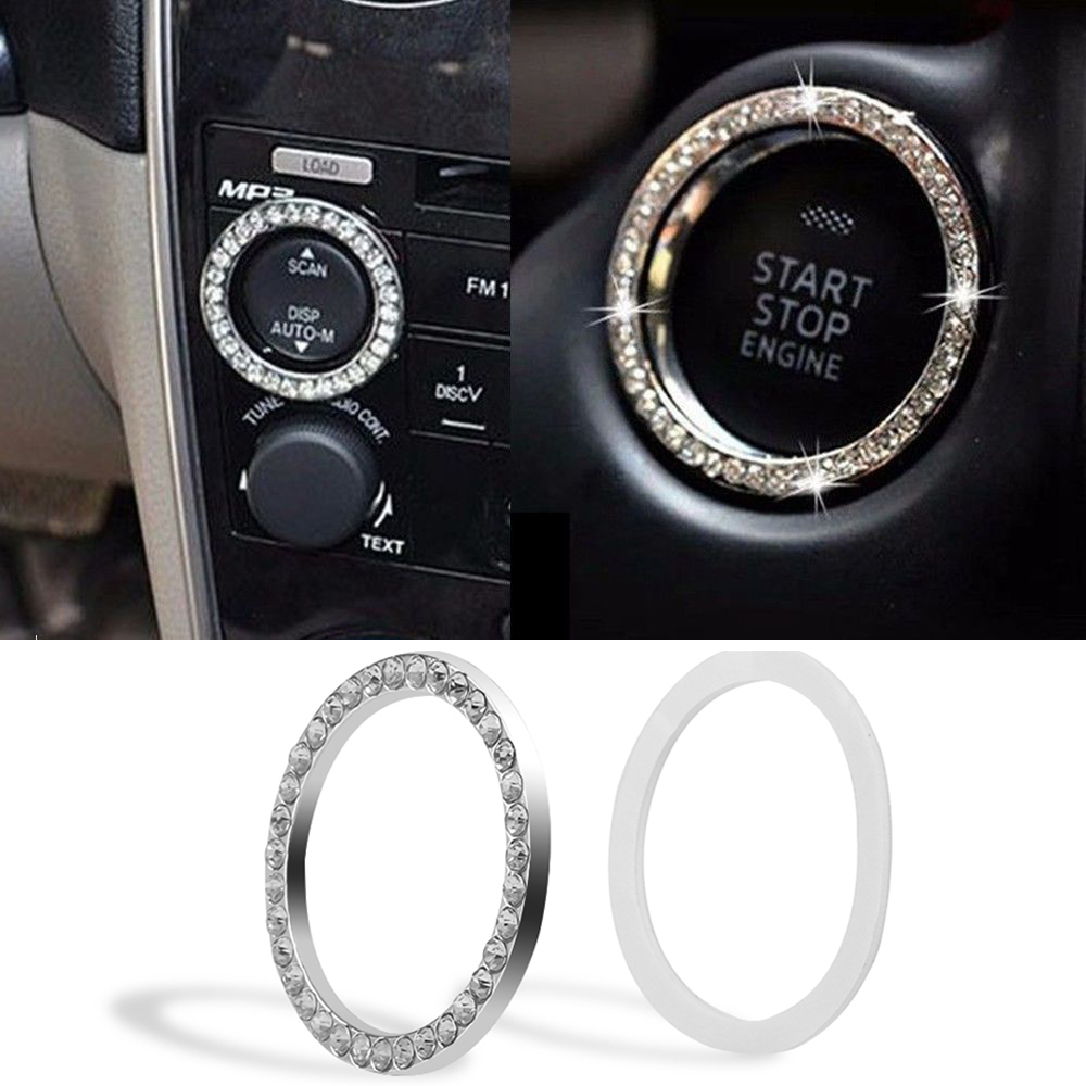 New Car Silver Decorative Accessories Start Button Switch Diamond Ring Circles