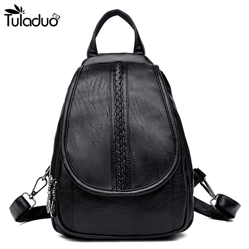Women Cover Backpack Slit Pocket Shoulder Travel Bags High Quality Mujer Casual Soft Leather School Bag Soft Balck Backpacks