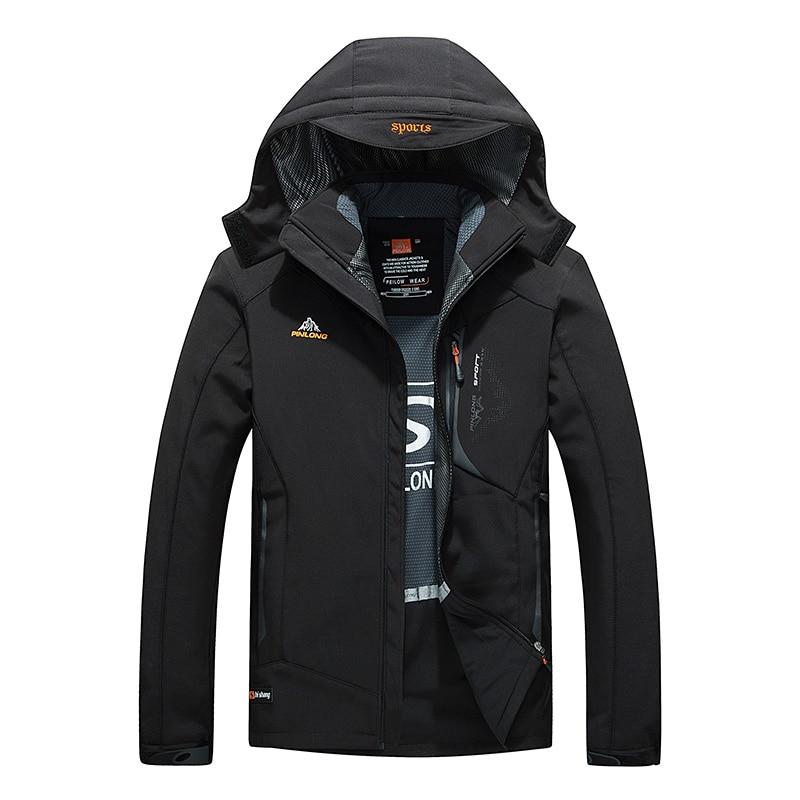 ФОТО Men's Hiking Softshell Front-Zip Jacket Black Waterproof Hooded Outdoor Jacket