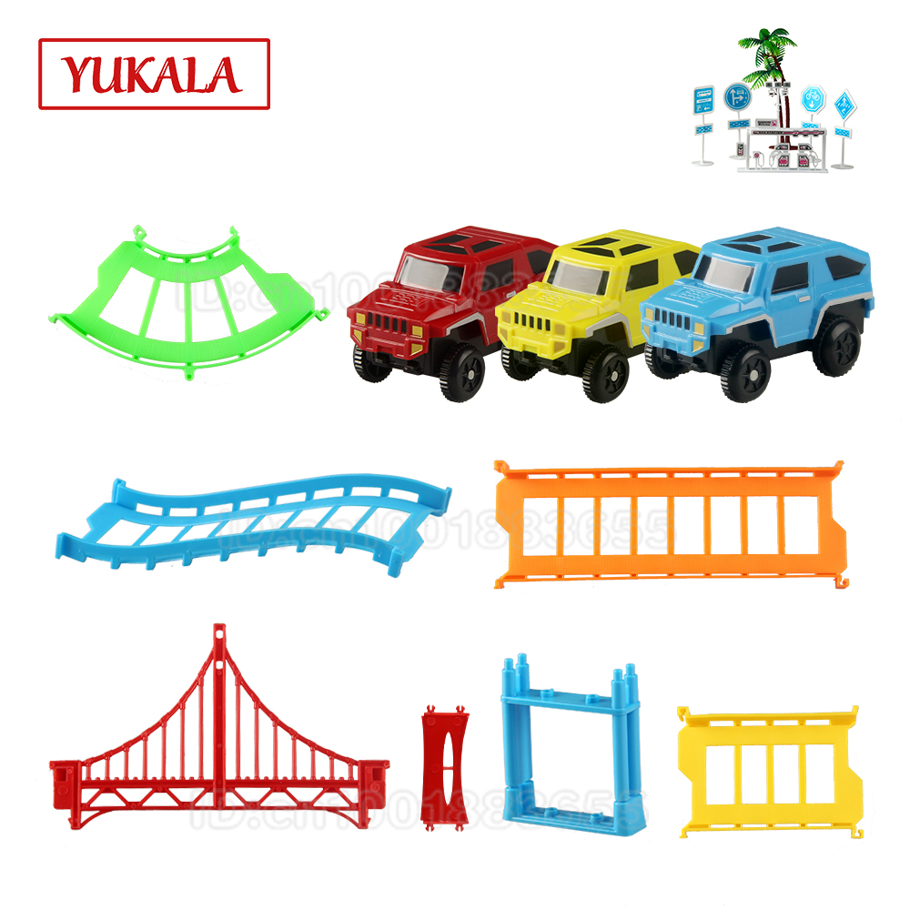 DIY Track car toys rail Railway model accessories for Electric car puzzles&game toys gift present for kids children boys girls
