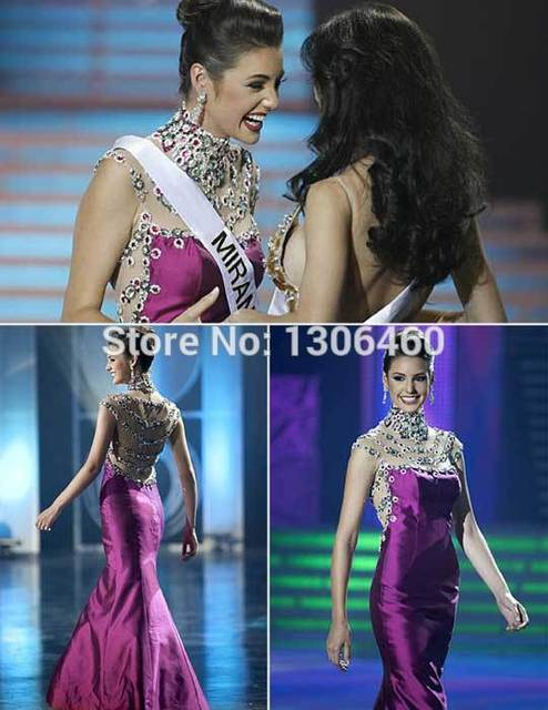 2014 pageant party dress Miss Venezuela Beaded High Neck Cap Sleeve ...