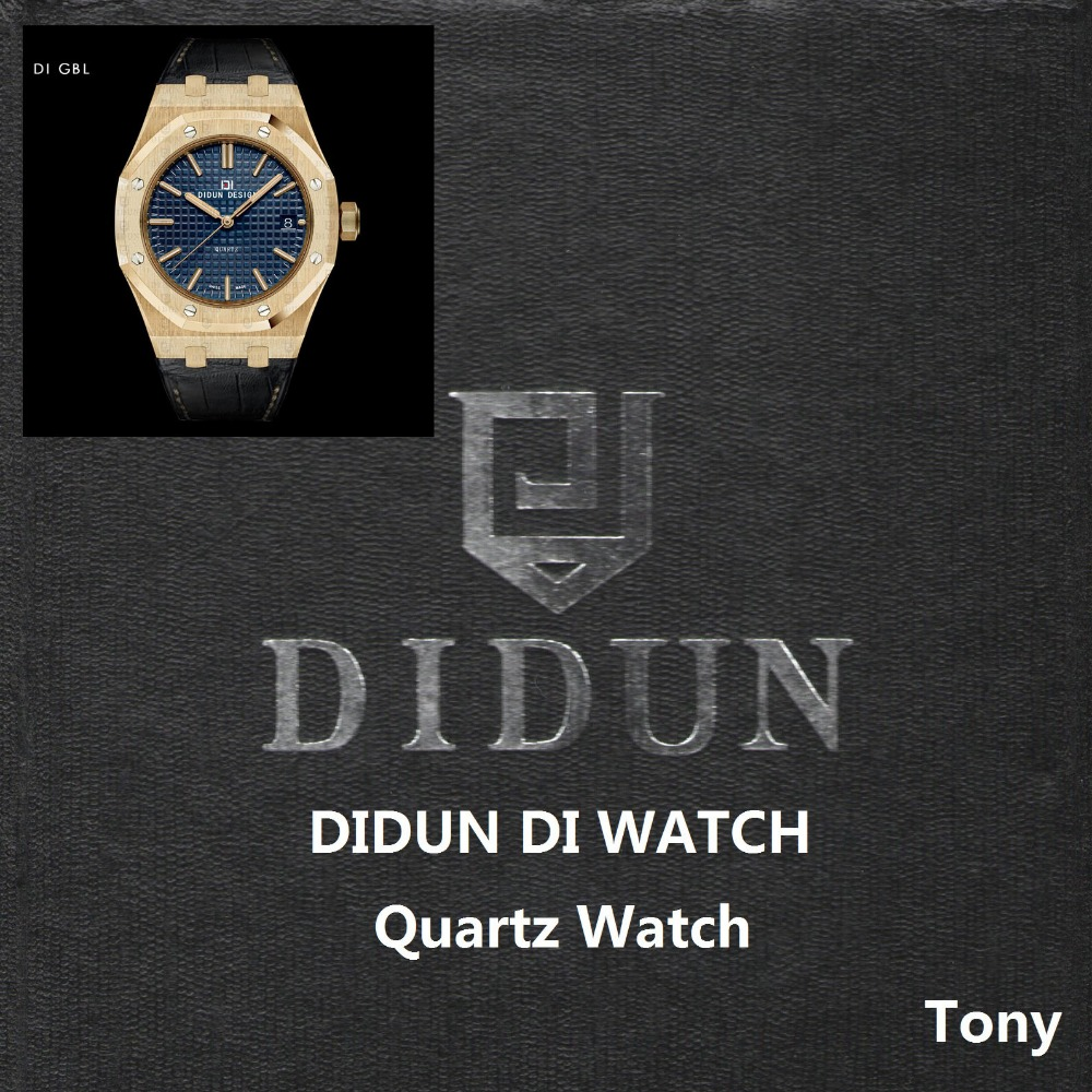 цены на DIDUN Men Watches Top Brand Luxury Quartz Watch Gold Male Fashion Business Watch Leather Strap 30m Waterproof Wristwatch