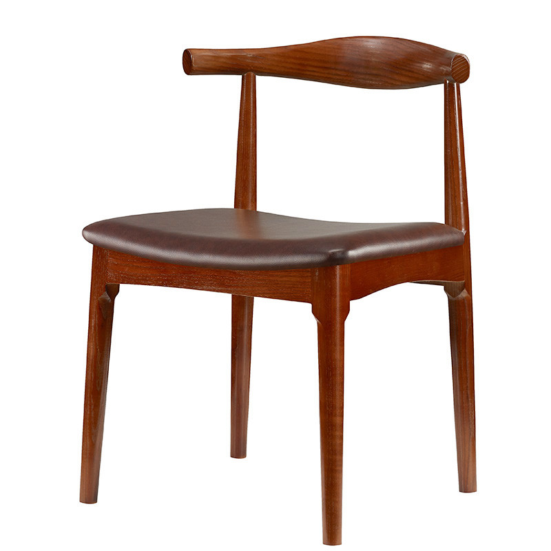 Hans Wegner Style Elbow Dining Chair With Real Leather Seat Cushion Solid  Ash Wood Dining Room Furniture Modern Dining Chair  In Dining Chairs From  ...