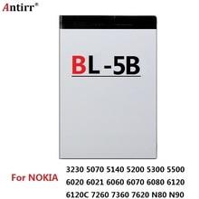 BL 5B Yedek Pil 890 mAh Antirr Orijinal Şarj Edilebilir Piller Nokia Cep Telefonu Için Li ion 3.7 V BL5B BL 5B