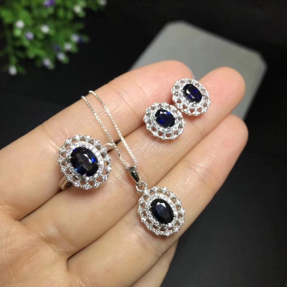 Колье Qi Xuan_Blue Stone цветок кулон ожерелья Sets_Real ожерелья sets_качество guaranteed_производитель напрямую