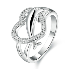 Women's Silver Plated Dolphin Heart Finger Ring Jewelry Charm for Party Prom