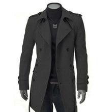 37d54578fe90 Winter Jacken Mantel Männer Faux Wolle Langen Graben Strickjacke Business  Outwear Kleidung Fit Belted Outwear Masculina