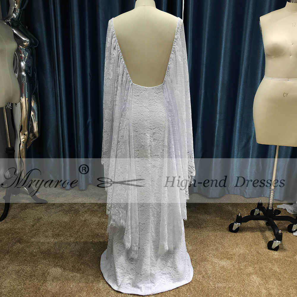 9fa73623e28e ... Mryarce New Unique French Lace Bohemian Wedding Dresses Open Back Front  Slit Boho Chic Bridal Gowns ...
