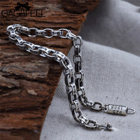 GAGAFEEL Thai Silver Bracelets Bangles Genuine 925 Sterling Silver Mens Jewelry Bracelets For Men Male 5