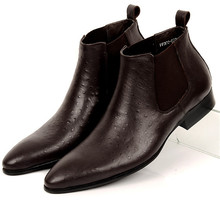 Fashion Black / Brown pointed toe mens business shoes ankle boots genuine leather mens dress shoes formal shoes