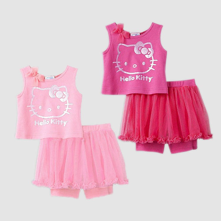 2013NEW Arrival Summer Lovely Hello Kitty Baby Girls Sets Vest + Pants-Skirt Set Pink and Rose Red 2 Colours Wholesale 3sets/lot