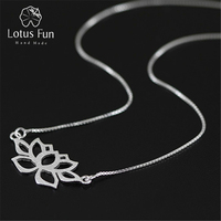 Lotus Fun Real 925 Sterling Silver Necklace Handmade Fine Jewelry Hollow Out Lotus Necklace with Pendant Acessories for Women