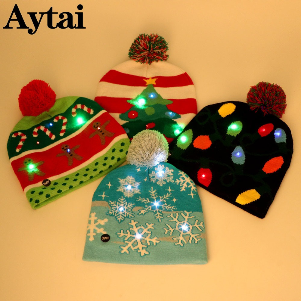 d3f1ef6b5139b Aytai Colorful Light Up Beanie Knit Cap Christmas Decorations LED Christmas  Tree Snowflake Hat New Years Party Decor Kid Gifts