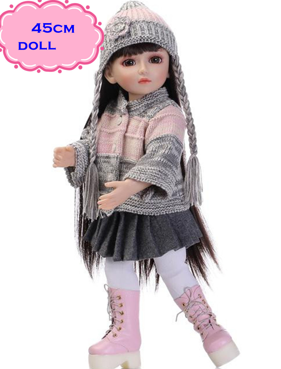 New Fashion Style NPK Reborny SD/BJD Doll Toys With Full Silicone Vinyl Doll Body In Winter Clothes About 18inch Dolls For GirlsNew Fashion Style NPK Reborny SD/BJD Doll Toys With Full Silicone Vinyl Doll Body In Winter Clothes About 18inch Dolls For Girls