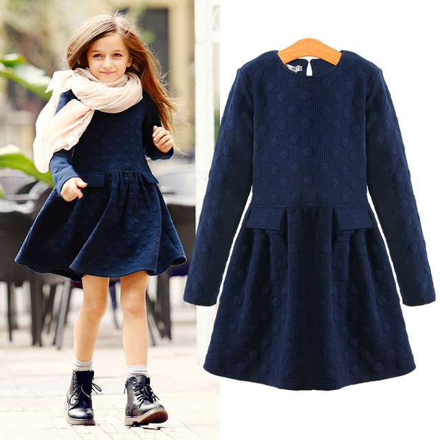 Зимние платья для девочек, Элегантные плотные детские платья для девочек, теплая хлопковая детская одежда, осенне-зимняя одежда, От 7 до 16 лет, розовый и синий цвета