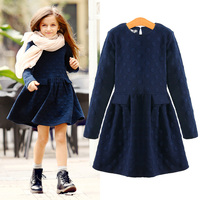 2015 Winter Girls Dress Thicken Girls Warm Cotton A Letter Dress Kids Cute Style Comfortable Material