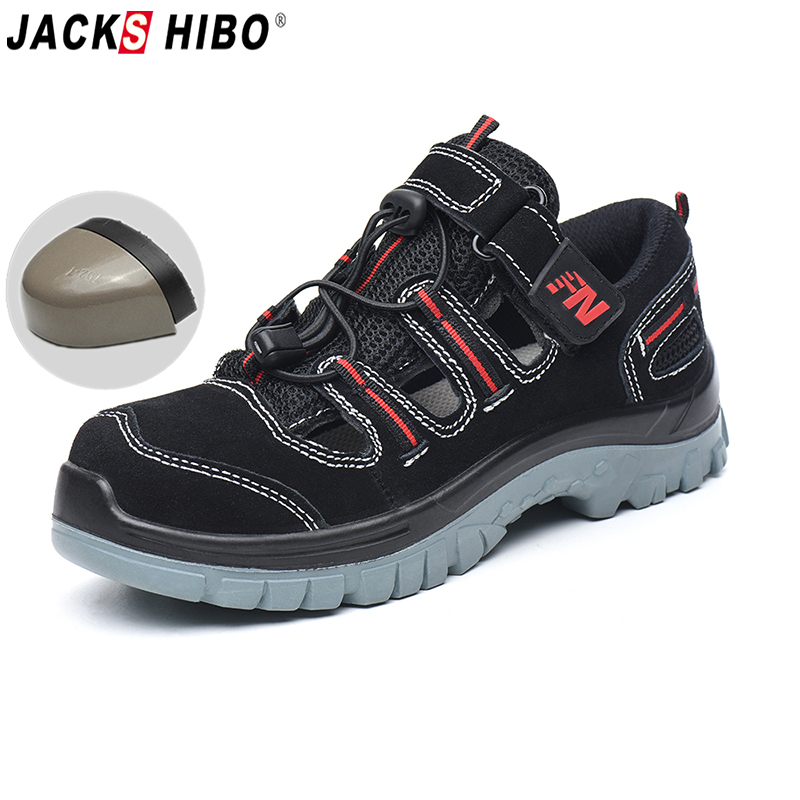 JACKSHIBO Safety Work Shoes For Men Summer Breathable Work Sandals Cow Suede Anti smashing Shoes Male