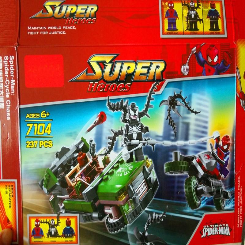 Decool 7104 Мстители Super Heroes 237 шт. Ultimate SpinerMan Строительные Блоки Устанавливает Marvel Фигурки Diy Кирпичи Игрушки Совместимость Legoe