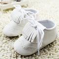 Borlas blancas Mocasines de Cuero Zapatos de Niña, Primeros Caminante de Suela Blanda Niño Recién Nacido 0-18 M Infantil Niños Chicas Zapatos de la princesa