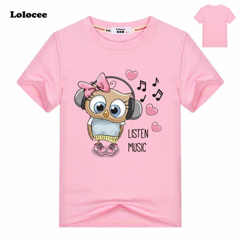 4 цвета 2018 для девочек с принтом Совы животных детская футболка милый розовый футболка детские топы детские хлопковые футболки для от 3 до 13 ... ...