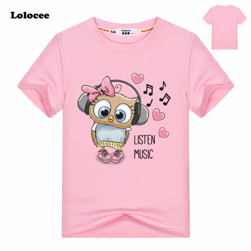 4 Colors 2018 Girls owl Print Animal T Shirt Kids Cute Pink T-Shirt Children Tops Baby Cotton Tees For 3-13 Years Brand clothin ...