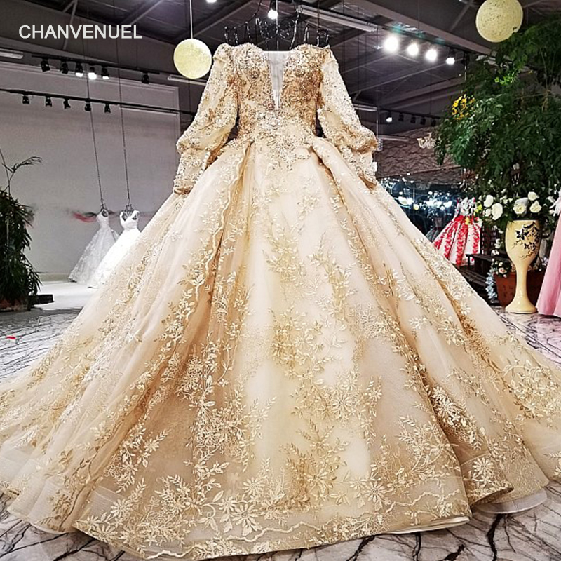 LS68774 luxury ball gown   evening     dress   long sleeve off shoulder golden flowers shiny   evening   gown with train 100% real as photos