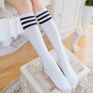 Image 4 - Модные женские носки в стиле Харадзюку, эластичные спортивные длинные носки средней длины в полоску, с узором в виде хвоста, в морском стиле, для студентов, 16 цветов