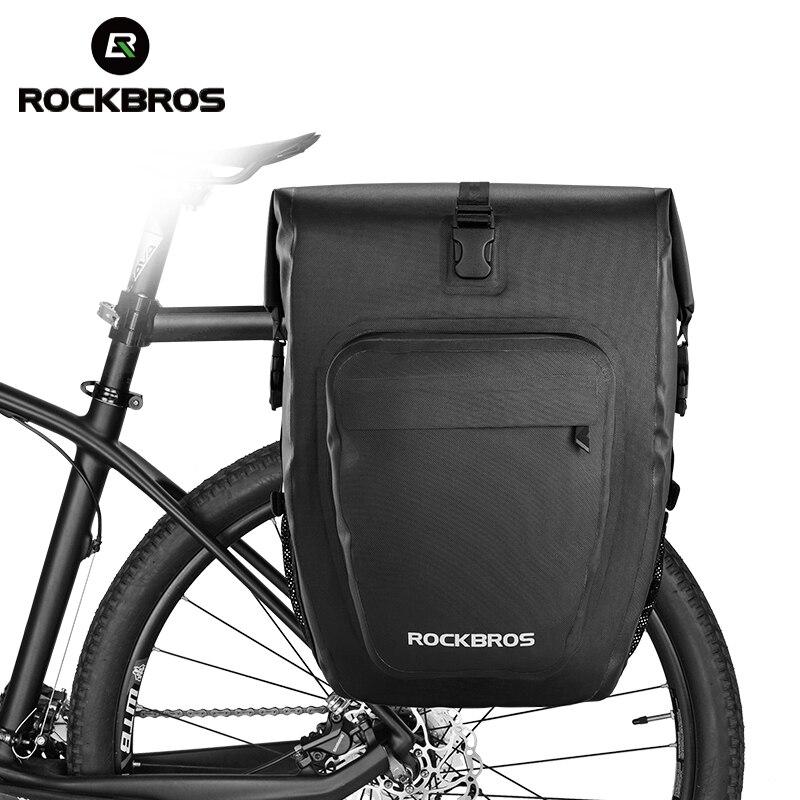 ROCKBROS 27L sacs de vélo imperméable pliable vélo vtt sacs de vélo réfléchissant Panniers Long voyage bagages sac accessoires de vélo