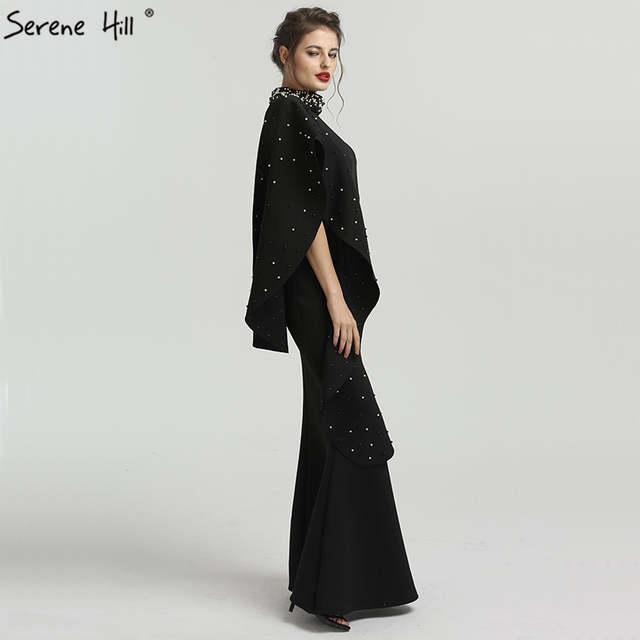 fdca13e2f633e Llong Black Beaded Satin Mermaid Formal Evening Prom Gown Dress Party  Mother Of The Bride Robe De Soiree Kaftan Dubai BQA8024