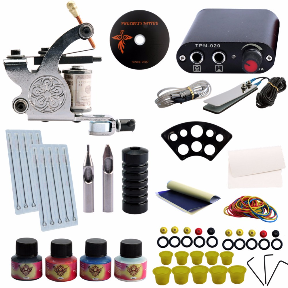 Tattoo Kit Completed Professional One Tattoo Gun Machine Set Power Pedal 4 Colors Ink Set Power Supply Clip Cord Foot Switch планшет acer switch one 10 z8300 532gb