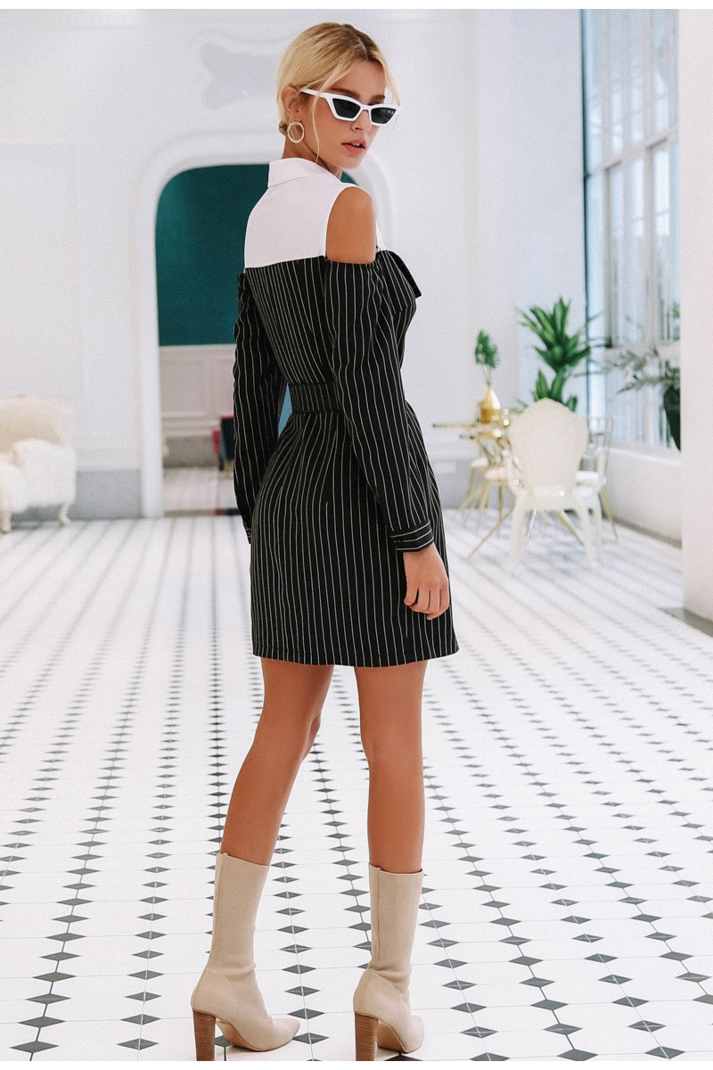 Simplee Elegant fake two piece stripe women dress Office lady sash long sleeve mini dress 18 Autumn winter blazer blouse dress 8
