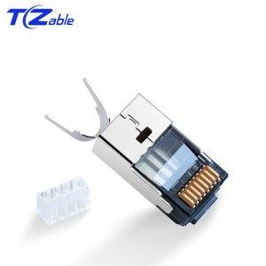 Image 4 - RJ45 konektörü 10Gbps CAT7 Ethernet ağ kablosu adaptörü saf bakır kalkan konnektörler altın kaplama 50U 8p8c Metal modüler fiş
