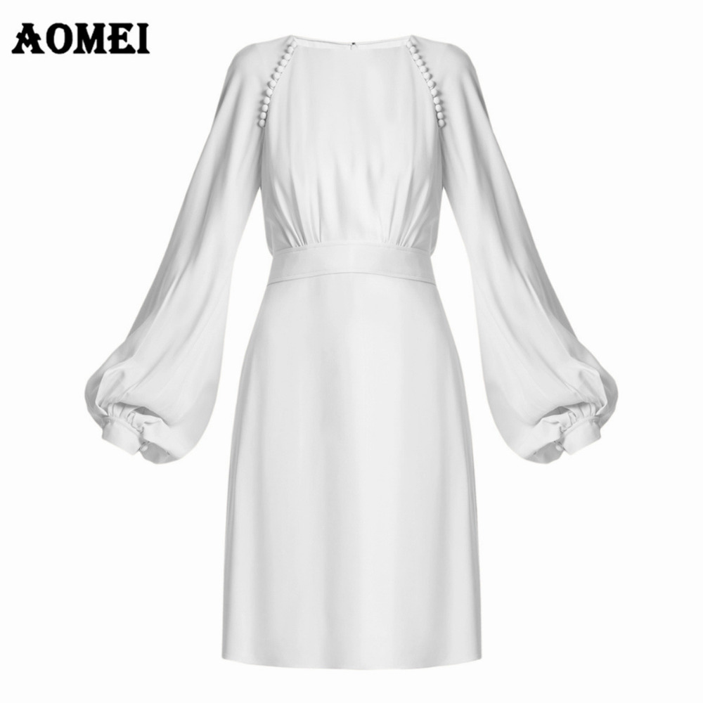 Women Autumn Mini Dress Solid Color High Waist Female Zipper Long Puff Sleeves Dresses Office Lady Gowns Plus Size Clothes Robes day dress
