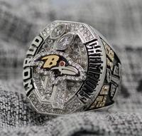 REPLICA 2012 ANILLO de CAMPEÓN del Super bowl XLVII Baltimore Ravens 7-15 Tamaño de Cobre Grabado En El Interior