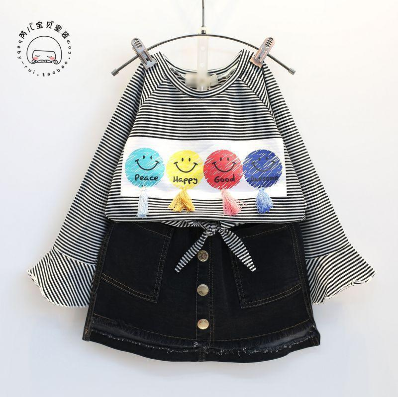Spring Girls Loose O Neck Flare Long Sleeve Stripe T Shirt Tee Single Breasted Pocket Elastic Waist Black Jeans Skirt Set Baby breast pocket v neck long sleeve t shirt
