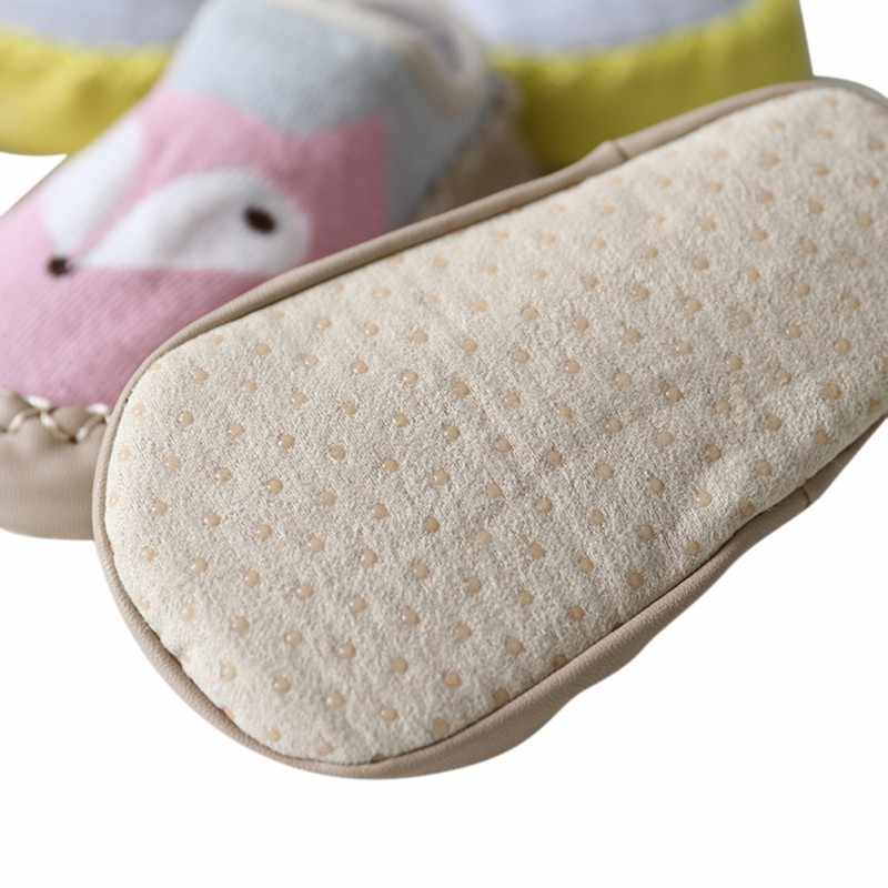 Toddler Baby Shoes soft sole Newborn Infant First Walker cartoon fox Lovely animals home sock shoe with PU leather rubber sole